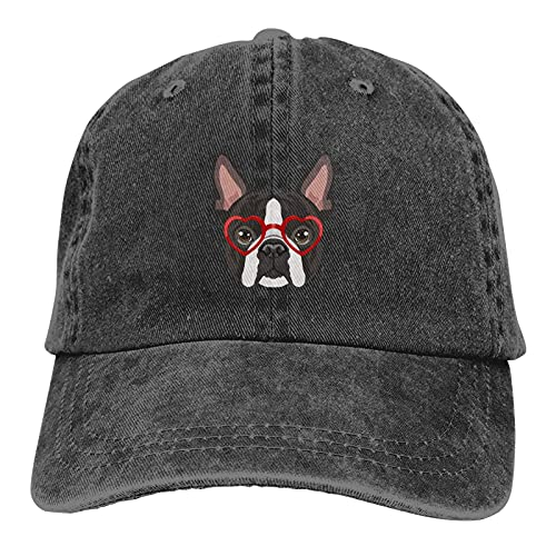 Gorra de mezclilla Boston Terrier Gafas Hipster Béisbol Papá Gorra Clásica Ajustable Casual Deportes para Hombres Mujeres Sombrero