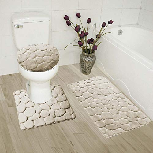 Luxury Home Collection 3 Piece Stone Embossed Solid Color Memory Foam Soft Bathroom Rug Set Non-Slip with Rubber Backing (Beige)