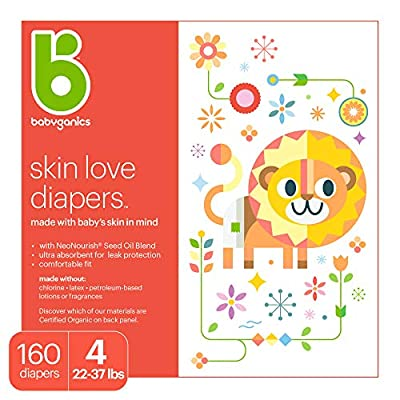 Babyganics Ultra Absorbent Diapers, Size 4, 160 Count