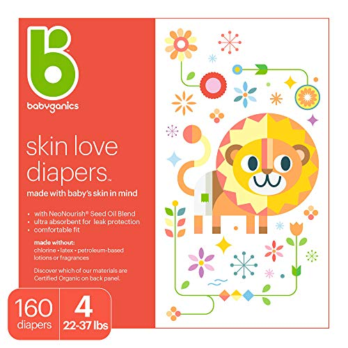 Babyganics Ultra Absorbent Diapers Size 4 160 ct
