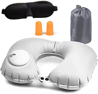 LC Inflatable U-Shaped Pillows, Portable Inflatable Travel Pillow for Airplanes, Car, Office, Family with Ear Plugs, 3D Sleep Mask and Drawstring Bag. Horseshoe Neck Pillow Grey