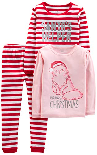 Simple Joys by Carter's Baby, Little Kid, and Toddler 3-Piece Snug-Fit Cotton Christmas Pajama Set, Red Stripe/Kitty, 6