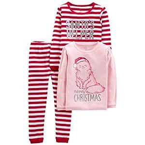 Simple Joys by Carter's 3-Piece Snug-fit Cotton Christmas Pajama Set Niñas, Pack de 3