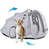Dual Expandable Polarized Cat Backpack Carrier, Fit up to 20 lbs, Expandable Front & Back Space Capsule Polarized Bubble Pet Carrier for Large Cat and Small Dog, Pet Carrying Hiking Traveling Backpack