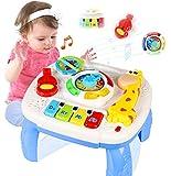 HOMOFY Baby Spielzeug 12-18Monate Musikalische Lerntisch-Frühe Bildung,Musik Aktivitätszentrum Spieltisch Kleinkinder Spielzeug für 1 2 3 Jahre alt - Verschiedene Beleuchtungen/ Musik