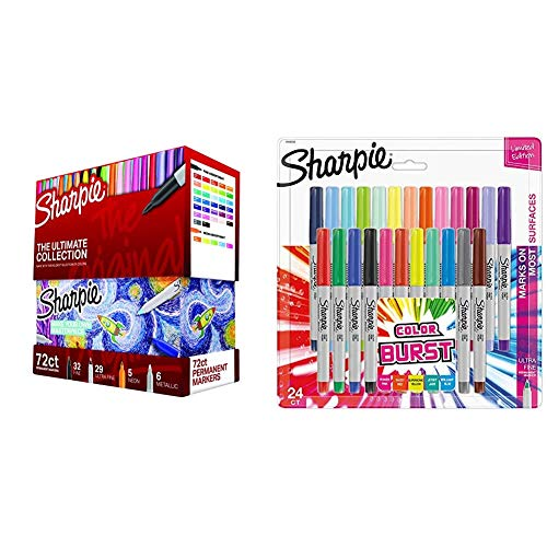 Sharpie Permanent Markers Ultimate Collection, Fine and Ultra Fine Points, Assorted Colors, 72 Count & 1949558 Color Burst Permanent Markers, Ultra Fine Point, Assorted Colors, 24-Count