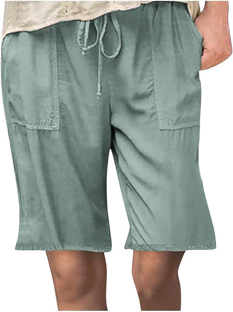 aihihe Bermuda Shorts for Women Plus Size Casual Summer Long Shorts Below Knee Loose Comfy Cotton Linen Short Pants