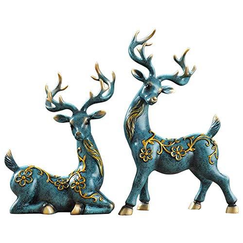 HongTeng-Dekoracje do domu Rzeźba żywicy Para Ełk Statua Office salon Rzemiosła Dekoracja