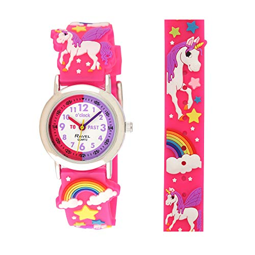 Ravel Girl's Pink Unicorn Time Teacher Watch