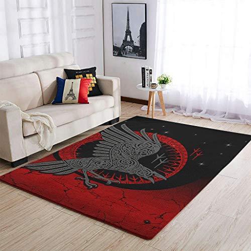 AXGM Alfombra moderna de cuervo vikingo para dormitorio, para salón, dormitorio, porche, blanco, 122 x 183 cm