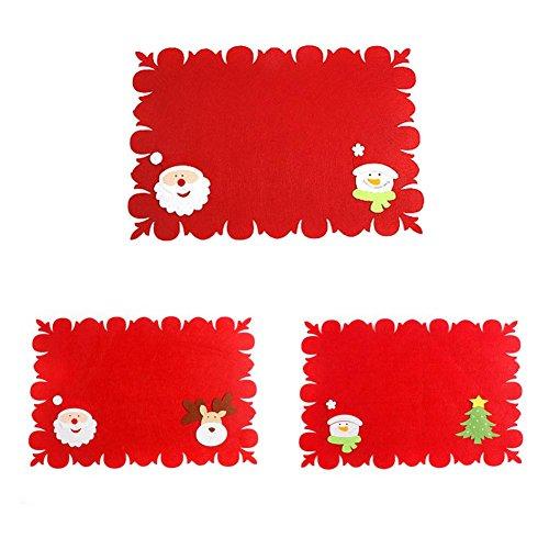prettygood7 Nieuwe Kerstmis Tafeldecoratie Niet-geweven Placemats Met Tafelgerei Tas Tafelmat