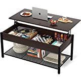 Homieasy Coffee Table, Lift Top Coffee Table with Storage Shelf and Hidden Compartment, Modern Lift Top Table for Living Room, Wood Lift Tabletop, Metal Frame - Espresso