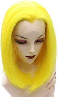 Sponsored Ad - Iewig Short Bob Straight Yellow Wig Halloween Half Hand Tied Synthetic Lace Front