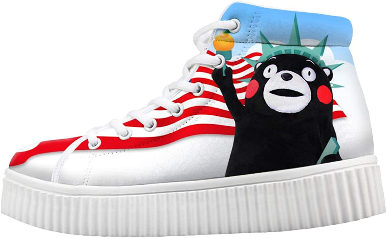 Owaheson Platform Lace up Sneaker Casual Chunky Walking shoes High Top Women American Flag Kumamoto Bear Statue of Liberty