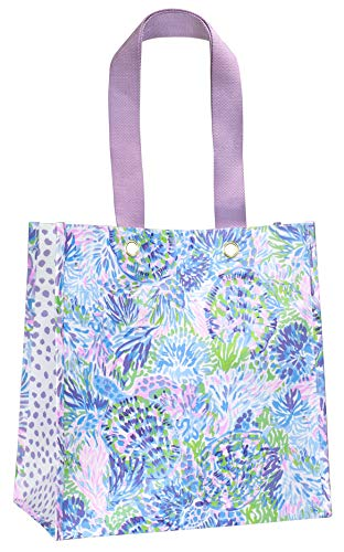 Lilly Pulitzer Purple/Blue Market Shopper Bag, Reusable Grocery Tote with Comfortable Shoulder Straps, Shell of a Party