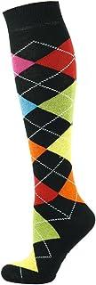 Calcetines altos para hombre, diseño de rombos, color negro con 7 colores variados