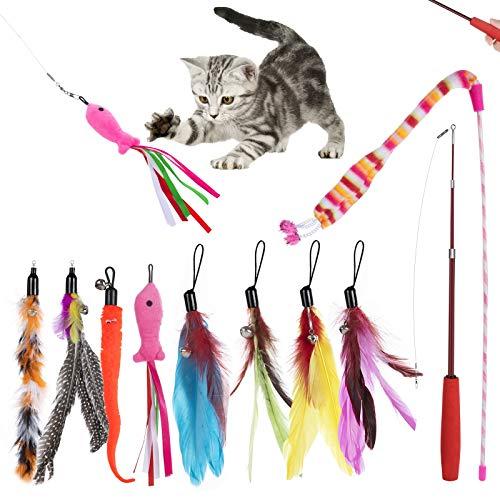 ZWOOS 10 Stück Katzenangel Katzenspielzeug Feder, Interaktives Katzenspielzeug Spielzeug mit 8 Katzenangel Ersatzfedern, 1 Skalierbar Stangen, 1Rainbow Cat Stick, Katzenspielzeug Set für Kätzchen