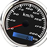 KESOTO 200KM/h 85mm Digital GPS Speedometer Gauge Waterproof for Boat Marine -Black