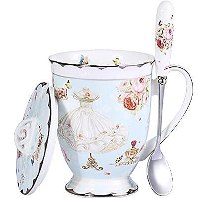 AWHOME Tea Cup and Lid and Spoon Set Royal Fine Bone China Coffee Mug 330ml Light Blue TeaCups