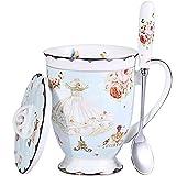AWHOME Tea Cup and Lid and Spoon Set Royal Fine Bone China Coffee Mug 11oz Light Blue...