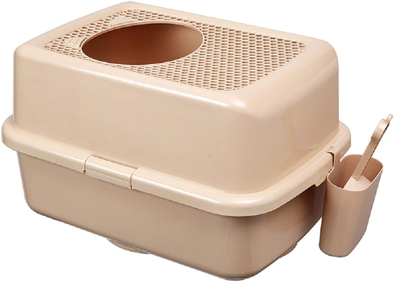 QIII Cat Litter Box Meta semi uso Cat Toilet Top Entry Antispater Cat Litter Pan 57 * 40 * 33cm (colore: 2)