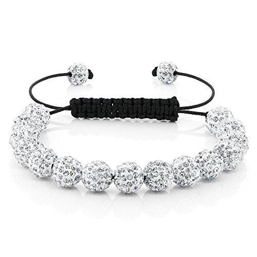Gem Stone King Hip Hop 15 White Disco Ball Adjustable Pave 7.5 Inch to 11 Inch Adjustable Bracelet