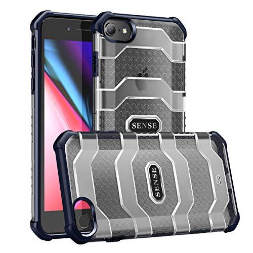 Eabhulie iPhone SE 2020 Funda, Híbrido Translúcido de PC con Esquinas Reforzadas TPU Parachoques Anti-Choque de Grado Militar Protección Carcasa para iPhone 7 / iPhone 8 / iPhone SE 2020 Azul