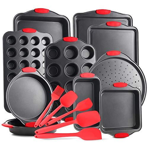 JoyTable Nonstick Carbon Steel Bakeware Set – 15-Piece Baking Tray Set With Silicone Handles – Oven Safe Cookie Sheets, Baking Pans, Cake Loaf, Muffins & Bread Pan & More