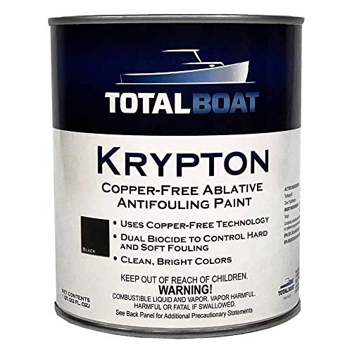 TotalBoat Krypton Copper Free Antifouling – Marine Ablative Boat Bottom Paint | For Fiberglass, Wood, Aluminum & Steel Boats | Ideal for Outdrives & Trim Tabs (Black, Gallon)