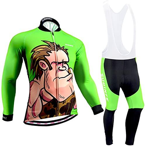 Tuta Ciclismo Uomo Invernale, Maglia Ciclismo Maniche Lunghe con Pile Termico e Pantaloni con Bretelle Imbottiti Spessi per Bicicletta, Animato, L