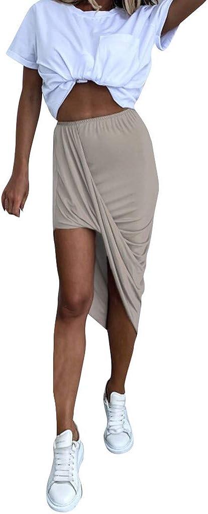 Women's Casual Slit Wrap Asymmetrical Elastic High Waist Maxi Draped Skirt