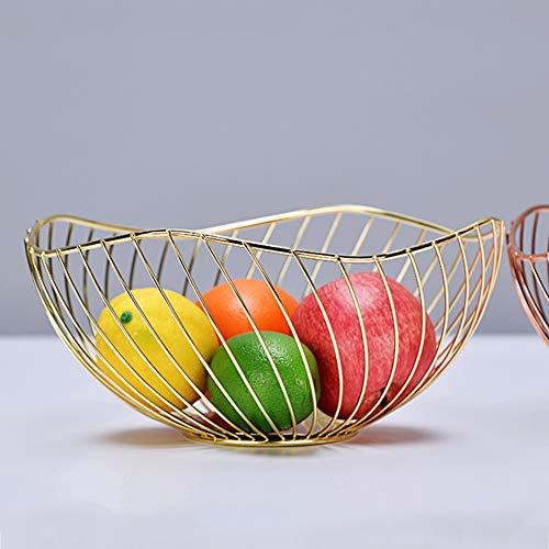 GUANGE Gold Metalldraht Obstkorb für die Küche, nordische Obstschale für die Küchentheke, Obstkorbschale, Drahtschale für die Theken Anti Rost, Metall Obstschale für Gemüse, Snacks, Brot