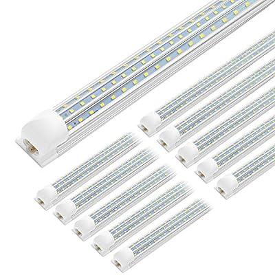 JESLED 4FT LED Shop Light, 45W Linkable 4 Foot LED Lights Fixture, 5400lm, 5000K Daylight, Triple Row D Shape T8 Tube Light, High Output Shop Lights for Garage Warehouse Workshop Basement (10-Pack)
