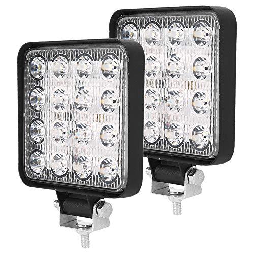 2PCS 48W Faros de Trabajo LED Tractor 9-32V 48W 6000KFaros LED Tractor Cuadrados Disipación de Calor IP67 Impermeable para Coche Excavadora y Camión