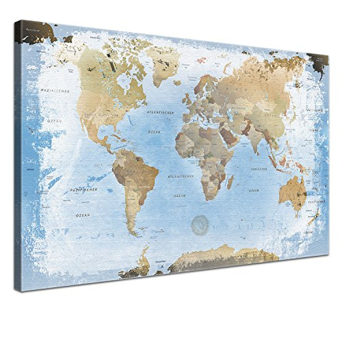 LanaKK - Mappamondo Ice con Parete Posteriore in Sughero, Stampa Artistica su Cornice, Ideale per i giramondo, Blu, 120 x 80 cm, 1 Pezzo