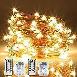 Lichterkette Batterie, 2er 12M 120 LED Lichterketten 8 Modi Außenbeleuchtung Kupferdraht Wasserdichte IP68 mit Fernbedienung und Timer für Outdoor, Innen, Außen, Weihnacht und Deko (Warmweiß)