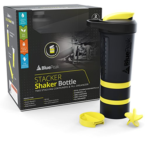 BluePeak Stacker Protein Shaker Bottle 22-Ounce, 2-Pack ProStak. Attachable Storage Containers (100 & 150cc) and Pill Tray Included. BPA Free (Black &Yellow)