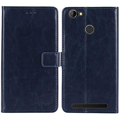 TienJueShi Dark Blau Premium Retro Business Flip Book Stand Brief Leder Tasche Schutz Hulle Handy Hülle Abdeckung Wallet Cover Etui TPU Silikon Fur Homtom ht50 5.5 inch