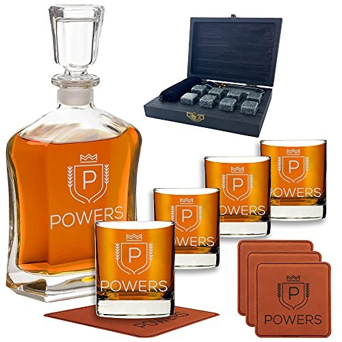 Personalized Whiskey Decanter Set for Men - 9 Design Options - Engraved Liquor Decanter Sets with Scotch Glasses - Perfect Gift Set for Him, Dad - Premium Set Includes Whiskey Stones - by Froolu