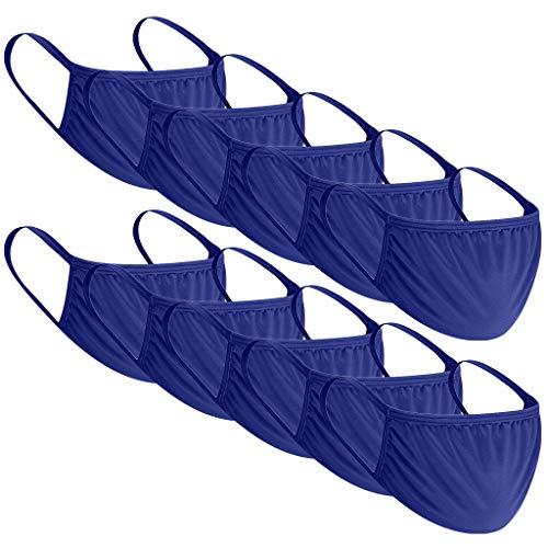 10 Stück Baumwolle Mundschutz Kinder Einfarbig Verstellbarer Hängendes Staubdicht Mund und Nasenschutz,Waschbar Kinder Multifunktional Halstuch Schlauchtuch Schlauchschal für Jungen (Blue)