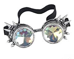 ZAIQUN Kaleidoscope Glasses Steampunk Goggles Rivet Steampunk Windproof Mirror Vintage Gothic Rave Rainbow Crystal Lenses Glasses #1