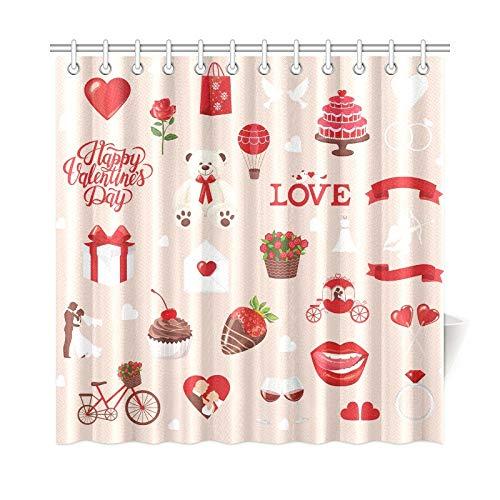 Plsdx Wohnkultur Bad Vorhang Valentinstag Icons Teddybär Brief Polyester Stoff wasserdicht Duschvorhang für Badezimmer, 72 x 72 Zoll Duschvorhang Haken enthalten