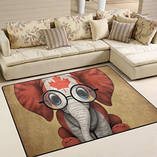 JINCAII Alfombra de bebé elefante con gafas y bandera canadiense colorida, antideslizante, supersuave, para suelo, hogar, dormitorio, sofá, sala de estar, dormitorio, decoración
