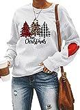 CORAFRITZ Donna Albero di Natale e Lettere Stampa Felpe Cartoon Cuore Modello Stampa Leopardo Plaid Manica Lunga Girocollo Top Felpa Donna Manica Lunga Top Shirt bianco XL