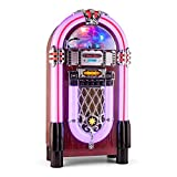 AUNA Graceland XXL BT Jukebox Bluetooth Style années 50 (Port USB- Lecteur de Carte SD, AUX, Radio FM/AM, Lecteur CD, éclairage Fleuri 2 Marron Clair…