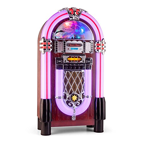 #03 JUKEBOX - auna Graceland-XXL jukebox (radio OUC/onde medie, ingresso AUX, slot USB/SD per riprodurre file audio da dispositivi esterni, lettore CD, interfaccia Bluetooth, illuminazione a LED) - marrone