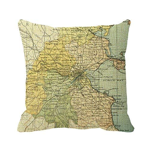 Pillowcase Mapa Vintage De Dublín Y Alrededores 1900 45X45Cm Cojines De Sofá Funda De Cojín Funda De Almohada Funda De Almohada Suave Impresión A Doble Cara con Cremallera Especia