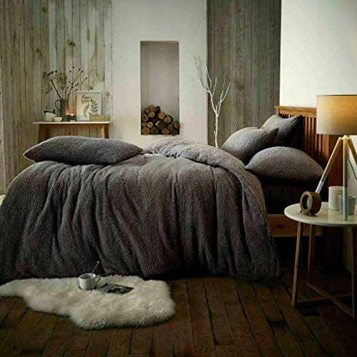 H-Z Teddy Bear Duvet Set & Pillow Cases Sherpa Fleece Thermal Warm Duvet Super Soft Comfy (Charcoal, Single)