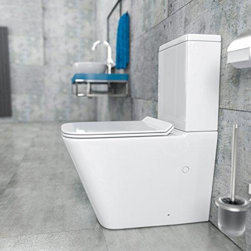 KERABAD Randlose Stand-WC Kombination Spülkasten WC-Sitz Duroplast mit Absenkautomatik SoftClose-Funktion für waagerechten und senkrechten Abgang Spülrandlos KB6003-U