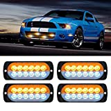 GZSH Emergency Strobe Lights Amber White 12 LED Automotive Flashing Hazard Warning Caution Construction Tractor Flasher Bar Kit for Service Vehicles Work Tow Trucks Car ATV Grill Surface Mount 4 Pack